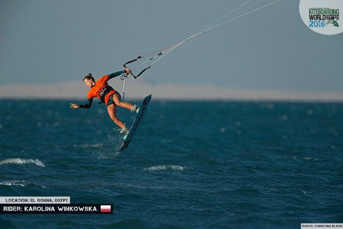 Kitesurf kiteboarding kitesurfing kiteboard women kitesurfer sport photo of the day image images photography Karolina Winkowska freestyle 2016 El Gouna Grand Slam Day 2