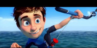 Kitesurfing kitesurf dessin animé cartoon kite enfant kiteboarding kiteboard