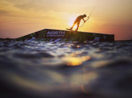 Kitesurf kiteboarding kitesurfing kiteboard women kitesurfer sport photo of the day image images photography Aaron Hadlow Official sunset